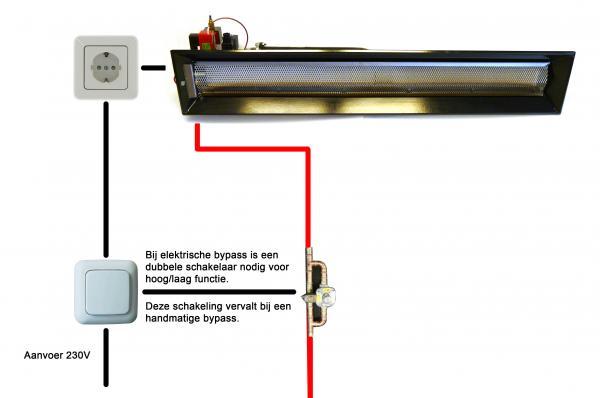 Aansluitschema: Alke 121 elektrisch met bypass